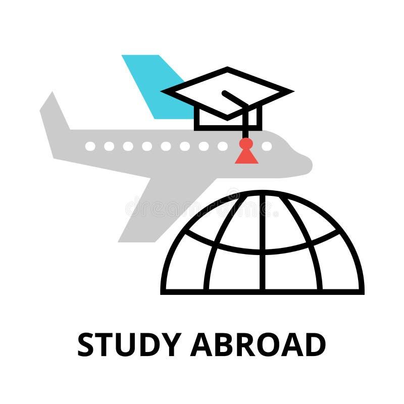 Studera utomlands symbolen, den tunna linjen vektorillustration för lägenheten vektor illustrationer