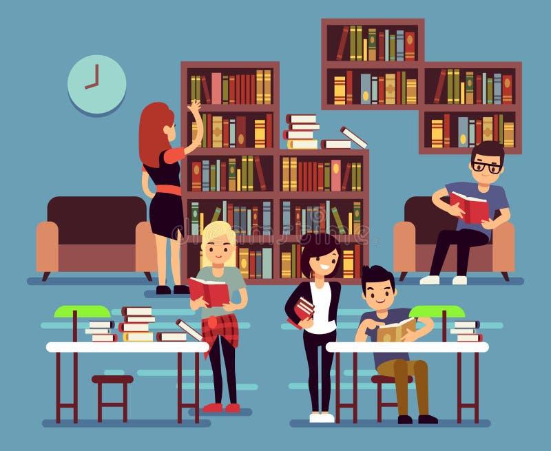 Studiando gli studenti nell'interno delle biblioteche con i libri e gli scaffali per libri vector l'illustrazione royalty illustrazione gratis