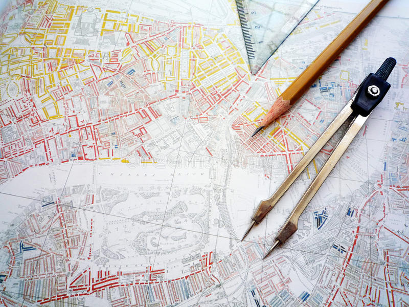 Studie der Stadtplanungskarte lizenzfreies stockbild