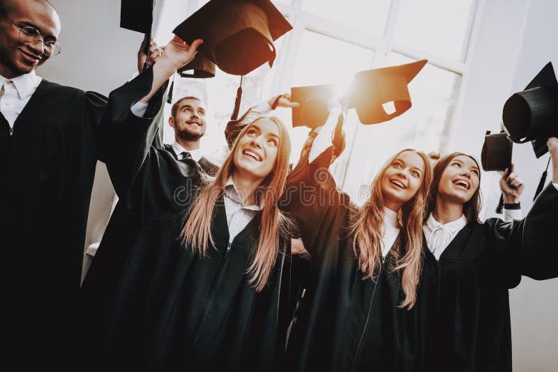 Studie samen gediplomeerde Beste Vrienden geluk royalty-vrije stock foto's