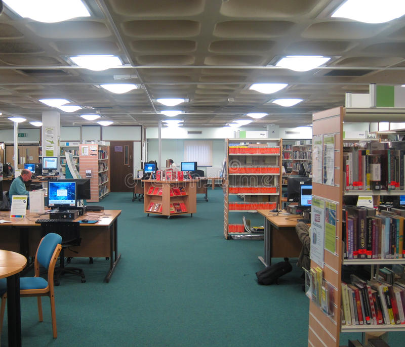 Studiegebied in een openbare bibliotheek. stock foto's