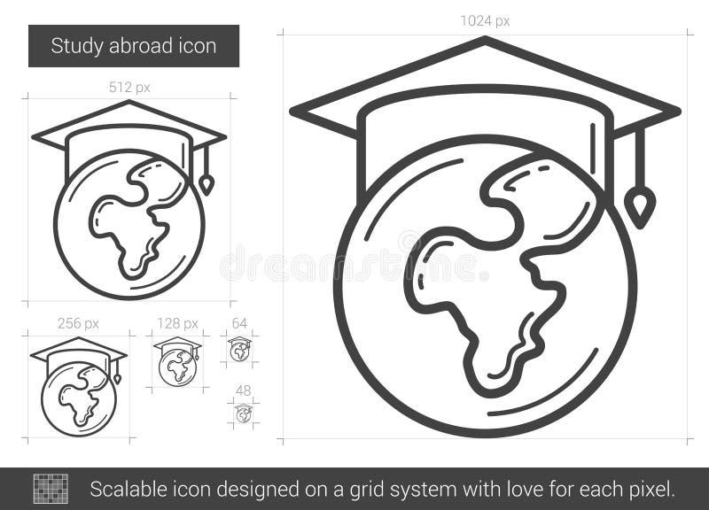 Studien utomlands fodrar symbolen royaltyfri illustrationer