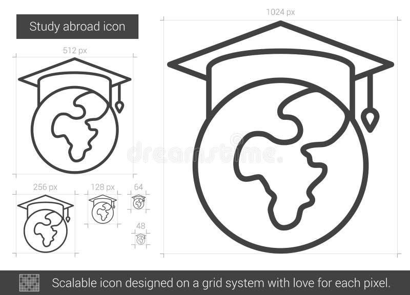 Studien utomlands fodrar symbolen vektor illustrationer