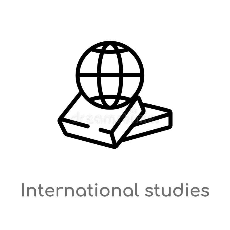 Studien-Vektorikone des Entwurfs internationale lokalisiertes schwarzes einfaches Linienelementillustration vom Ausbildungskonzep vektor abbildung