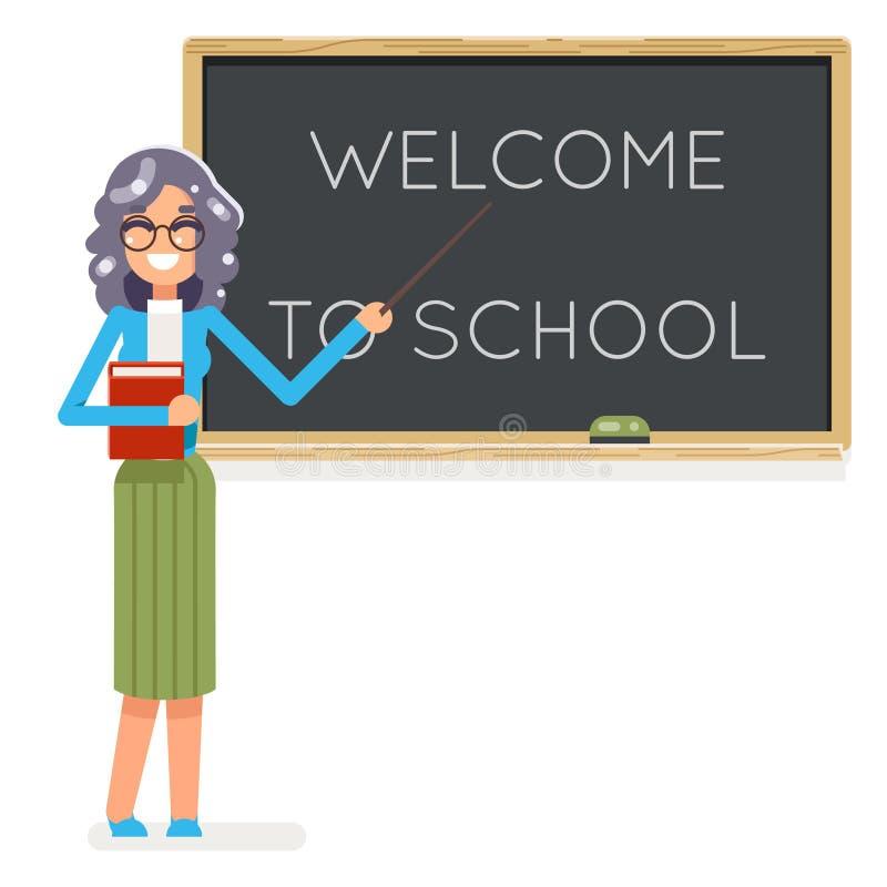 Studienschülerstudentenklassenbildungslektionscharakterikonenklassenzimmerschulbehörde-Hintergrundvektor des Lehrerbuches weiblic stock abbildung