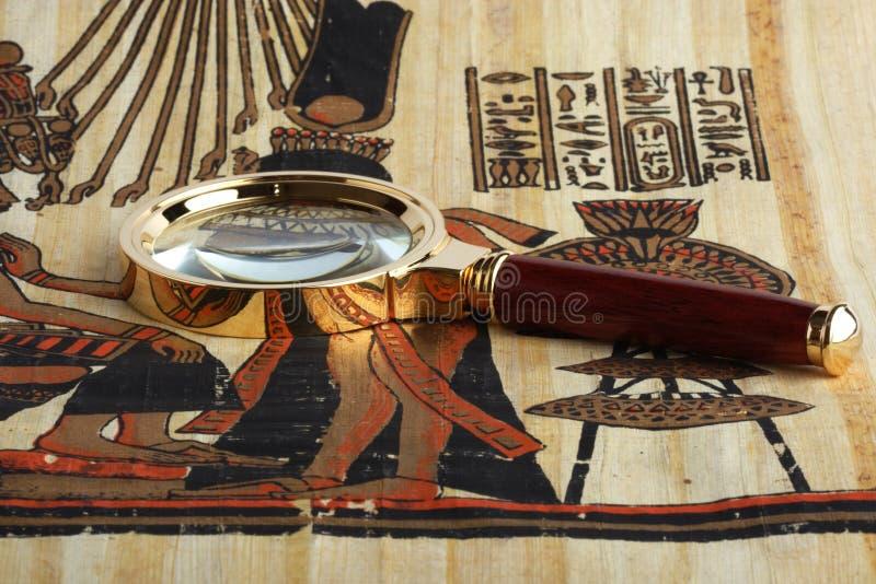 Studieren des ägyptischen Papyrusses lizenzfreie stockfotos