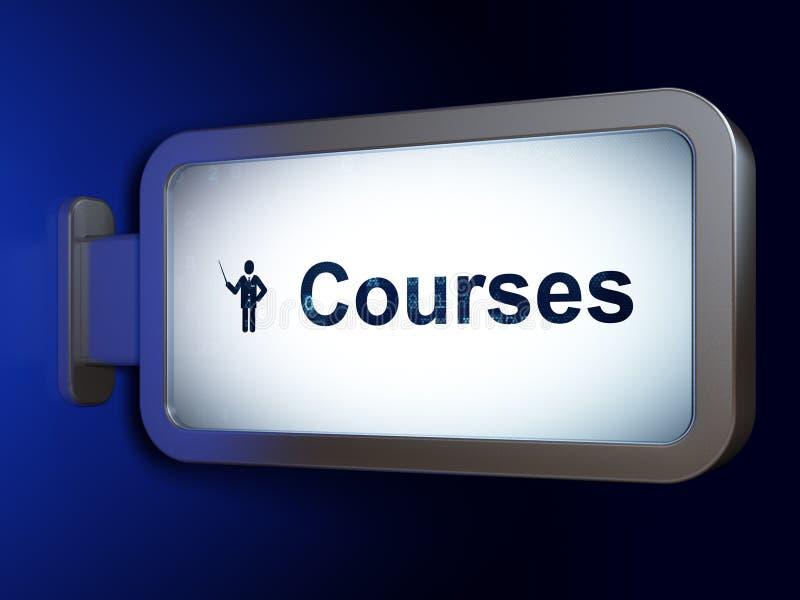 Studieren des Konzeptes: Kurse und Lehrer auf Anschlagtafelhintergrund lizenzfreie abbildung