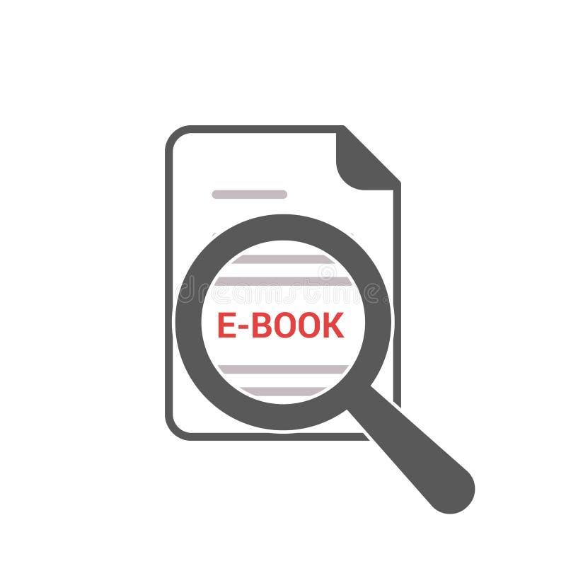 Studieren des Konzeptes: Optisches Vergrößerungsglas mit Wörtern EBook lizenzfreie abbildung