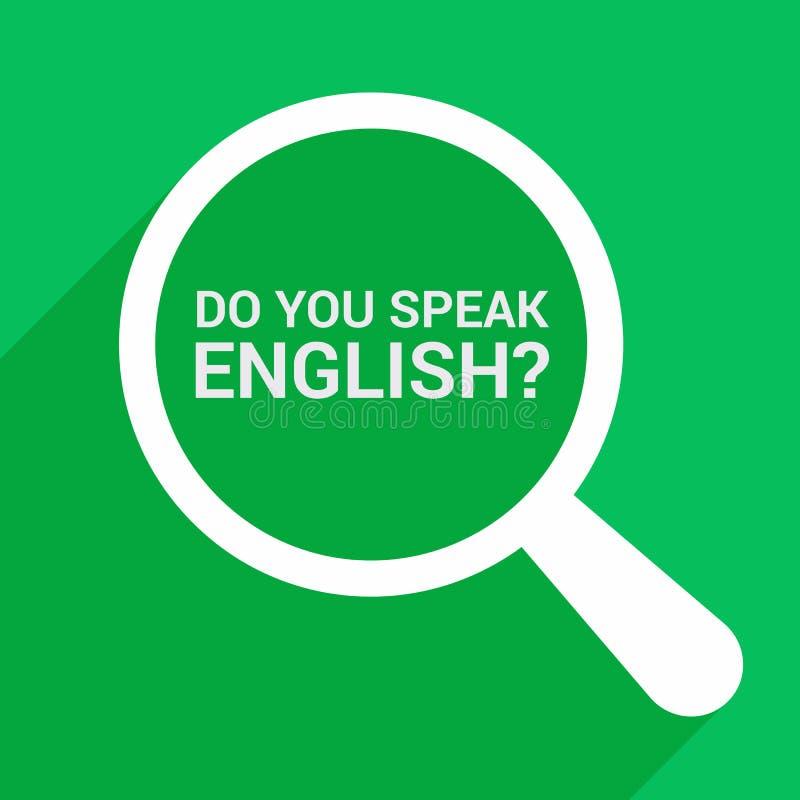 Studieren des Konzeptes: Optisches Vergrößerungsglas mit Wörtern sprechen Sie Englisch? vektor abbildung