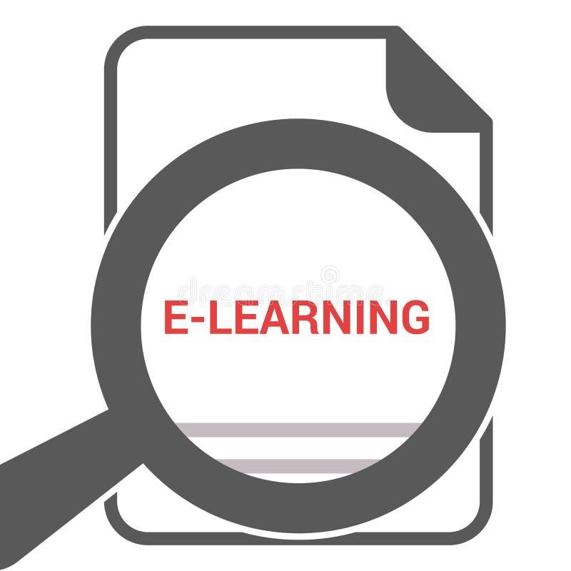 Studieren des Konzeptes: Optisches Vergrößerungsglas mit Wort-E-Learning stock abbildung