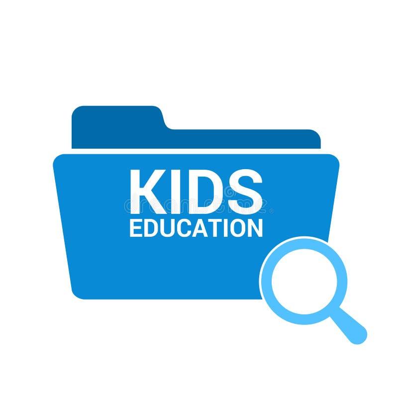 Studieren des Konzeptes: Optisches Vergrößerungsglas mit Wort-Kinderbildung lizenzfreie abbildung
