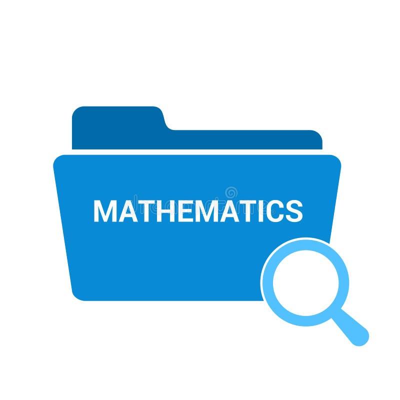 Studieren des Konzeptes: Optisches Vergrößerungsglas mit Wort-Mathematik stock abbildung