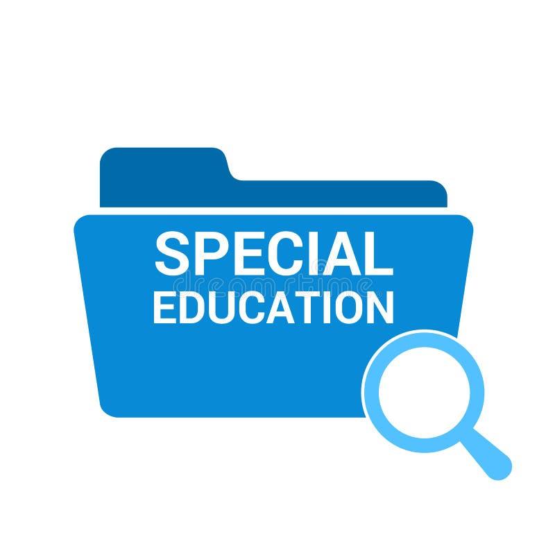 Studieren des Konzeptes: Optisches Vergrößerungsglas mit Wort-Sonderschule stock abbildung