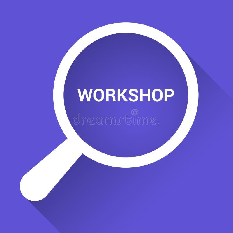Studieren des Konzeptes: Optisches Vergrößerungsglas mit Wort-Werkstatt vektor abbildung