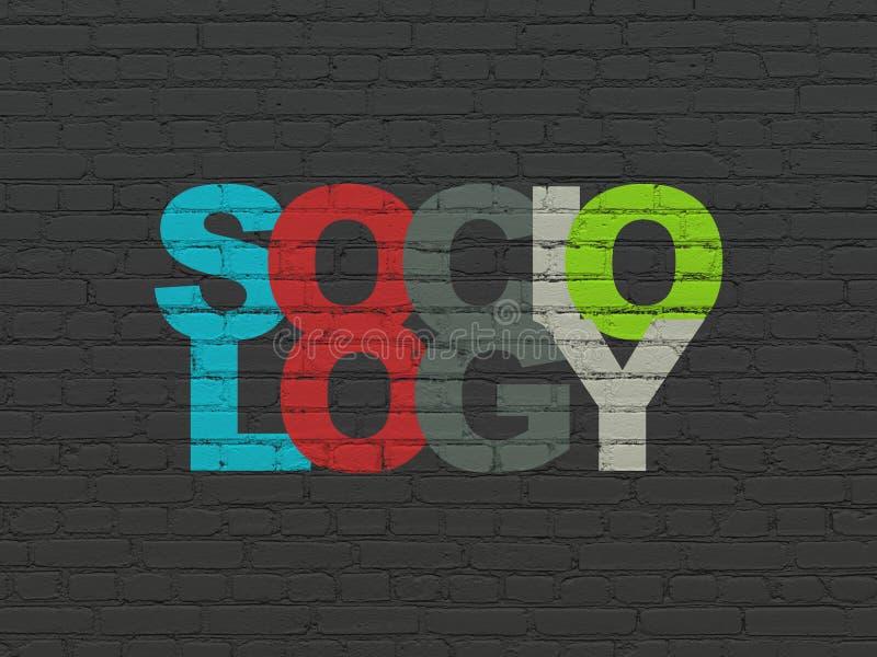 Studieren des Konzeptes: Soziologie auf Wandhintergrund stockbild