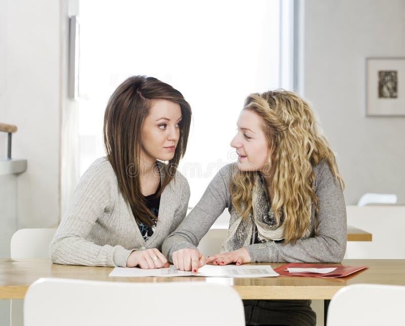 Studieren mit zwei Mädchen stockbild