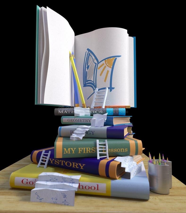 Studieren von Schulbüchern Zurück zu Schulekonzepthintergrund lizenzfreies stockfoto