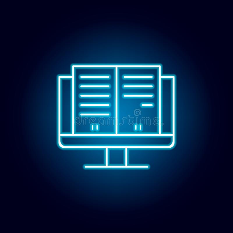 Studies, eBook, monitor, screen outline icon in neon style. elements of education illustration line icon. signs, symbols can be. Used for web, logo, mobile app royalty free illustration