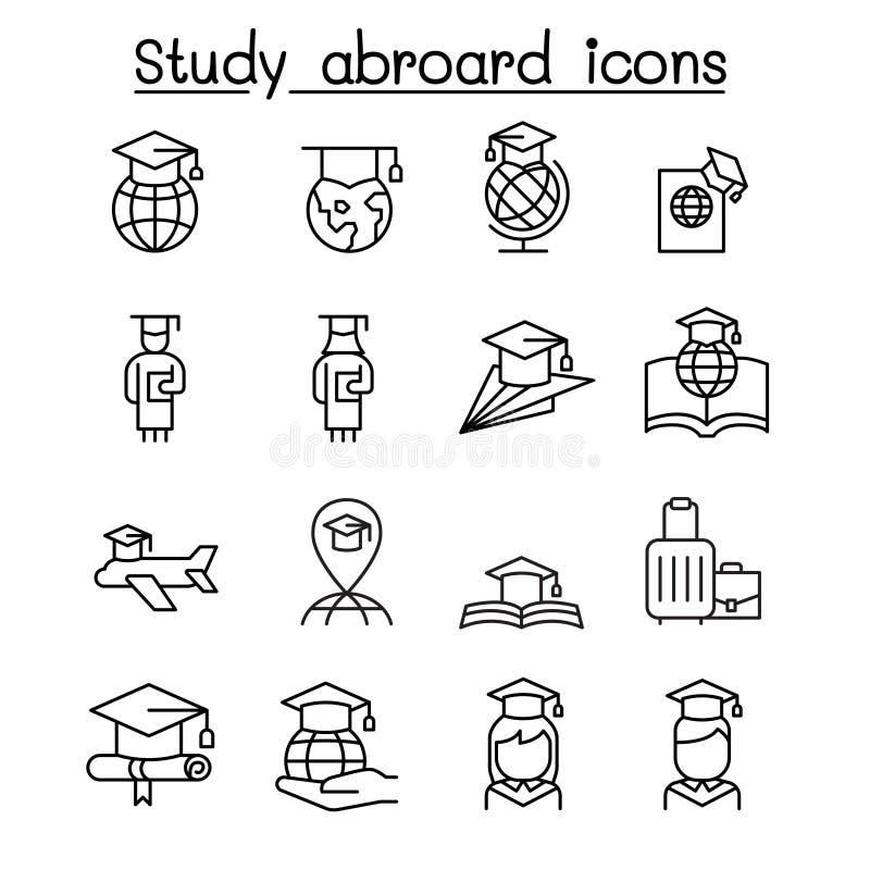 Studieutlandet & avl?ggande av examensymbolen st?llde in i den tunna linjen stil vektor illustrationer