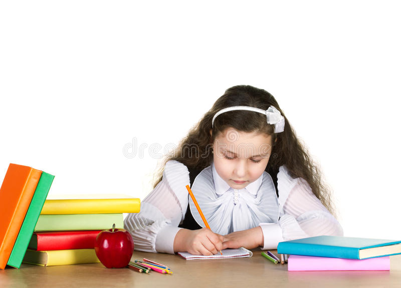 studing的小女孩 免版税库存照片