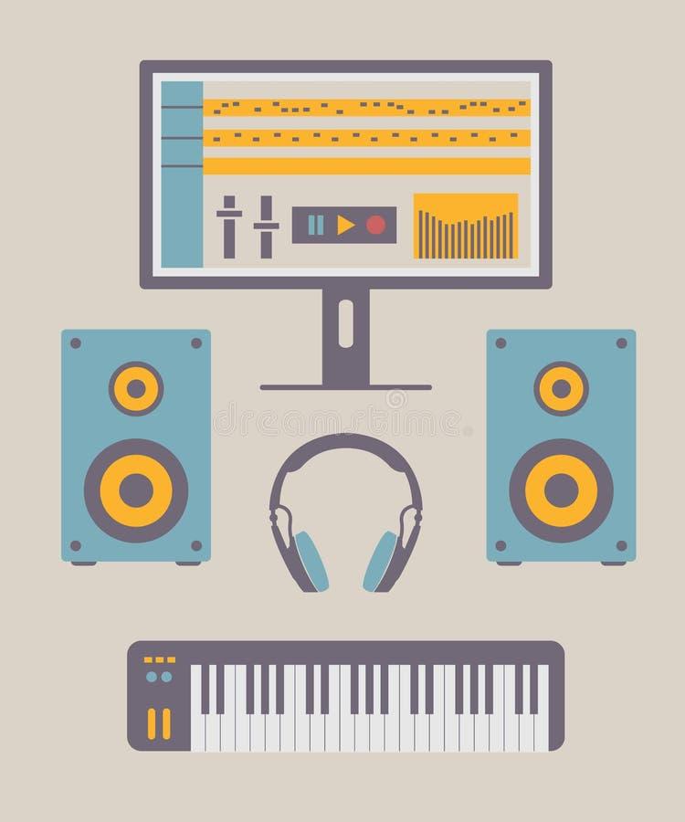 Studio à la maison de musique illustration de vecteur