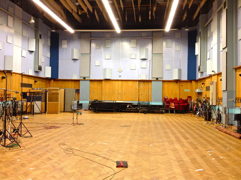 Studio 1, Abbey Road Studios, London. The spacious Studio 1 of Abbey Road Studios; mainly used for orchestral recording/film scores stock images