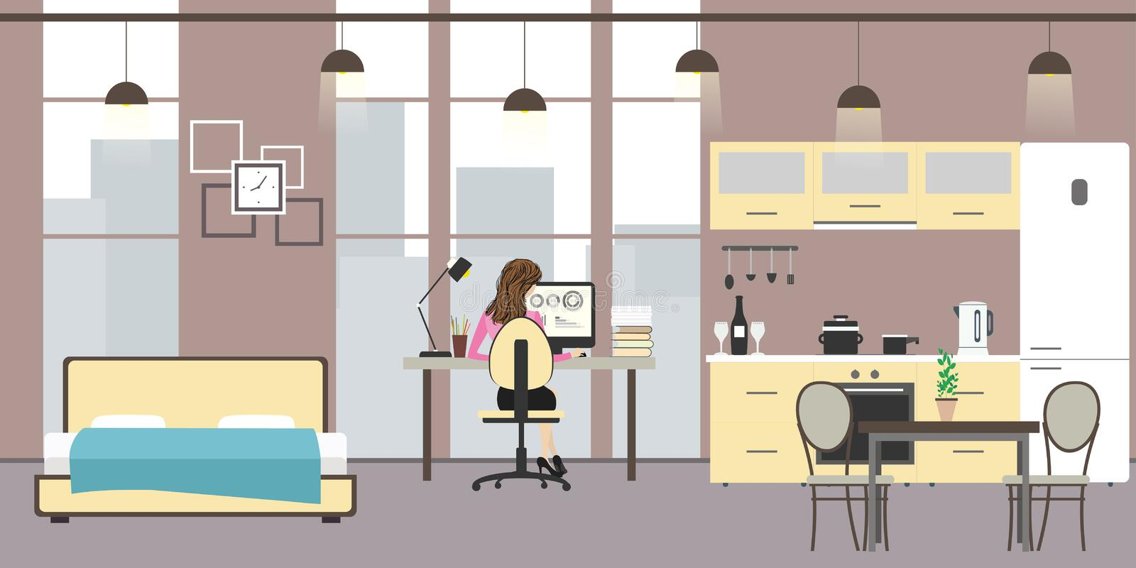 Studio apartment with big windows. Bed, workspace and kitchen with utensils,woman sitting at the table and working, flat vector illustration vector illustration