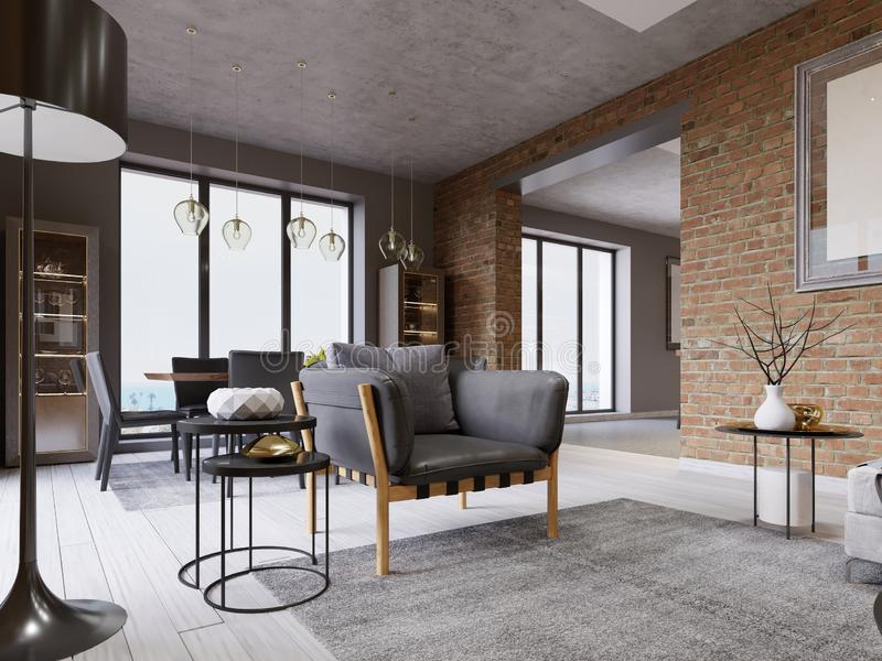 Studio apartment with designer fashionable armchair with leather upholstery, dining table at a large window, brick wall. 3d rendering stock illustration