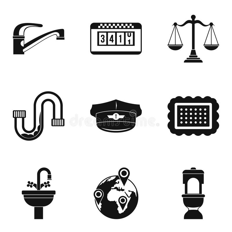 Studio apartment icons set, simple style. Studio apartment icons set. Simple set of 9 studio apartment vector icons for web isolated on white background royalty free illustration