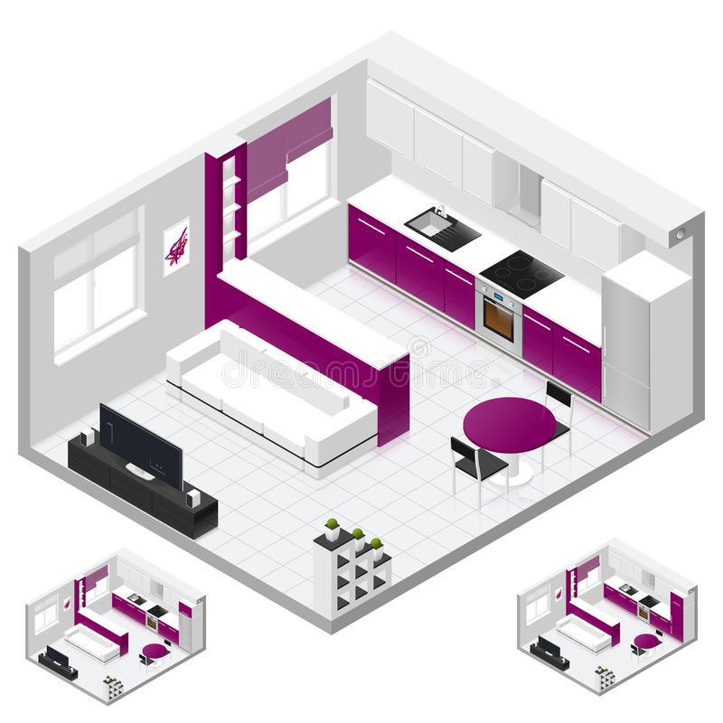 Studio apartment isometric icon set. Studio apartment includes a combined kitchen and living room isometric icon set, three variant of fridge, painted in bright royalty free illustration