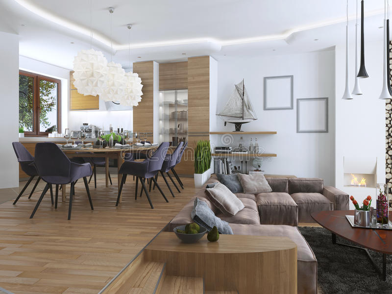 Studio apartment with living room and dining room in a contemporary style. royalty free stock photo