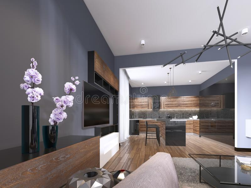 Studio apartment living room with fabric sofa and TV storage and kitchen with console on the wall. 3d rendering stock illustration