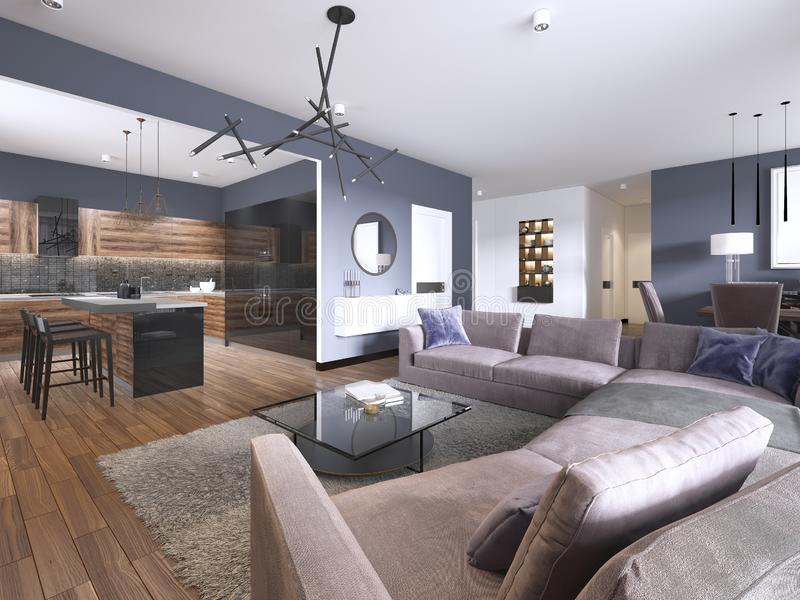 Studio apartment living room with fabric sofa and TV storage and kitchen with console on the wall. 3d rendering royalty free illustration