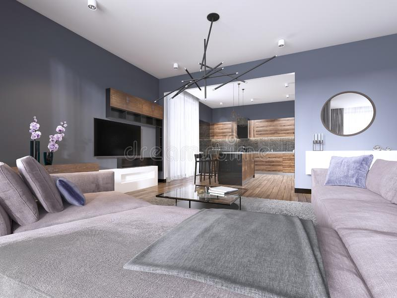 Studio apartment living room with fabric sofa and TV storage and kitchen with console on the wall. 3d rendering vector illustration