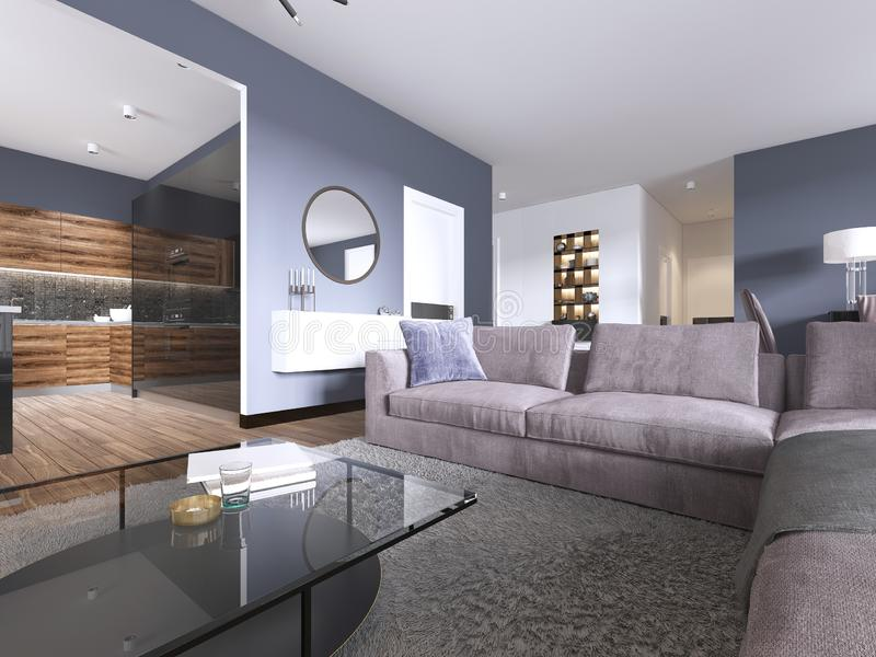 Studio apartment with open living room, kitchenette and dining area. 3d rendering vector illustration