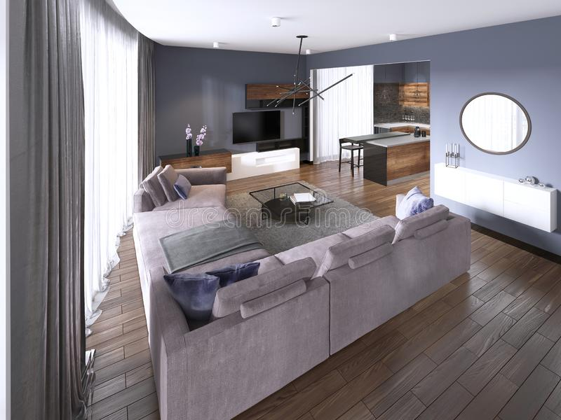 Studio apartment with open living room, kitchenette and dining area. 3d rendering stock illustration