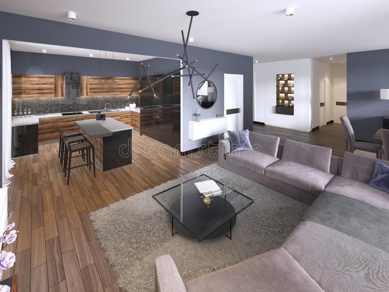 Studio apartment with open living room, kitchenette and dining area. 3d rendering royalty free illustration