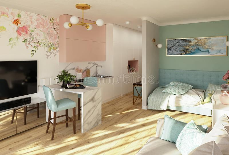 Studio apartment in pink and turquoise colors, 3d render. Cozy light modern studio apartment in pink and turquoise colors, 3d render vector illustration