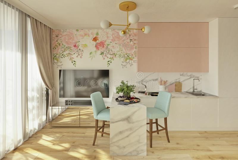 Studio apartment in pink and turquoise colors, 3d render. Cozy light modern studio apartment in pink and turquoise colors, 3d render royalty free illustration