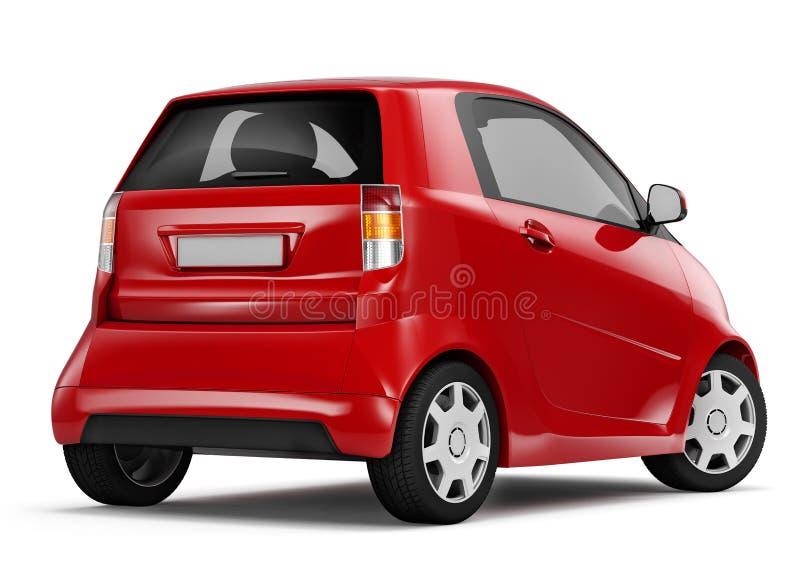 Studio arrière de vue tiré de la voiture électrique hybride rouge de berline illustration stock