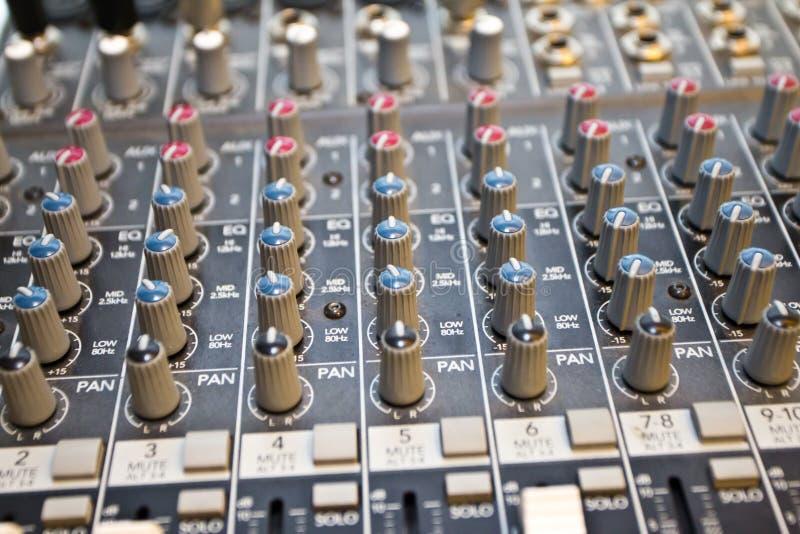Studio audio mixer I. Audio mixing console in a studio royalty free stock photo