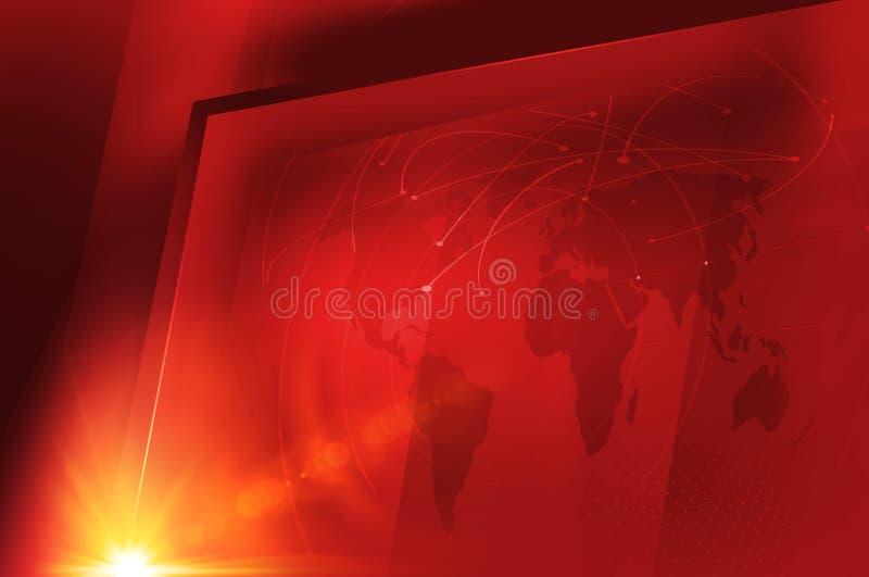 Studio big flat tv screen with global world map concept series. Studio big flat tv screen with global world map. 3d Illustration vector illustration