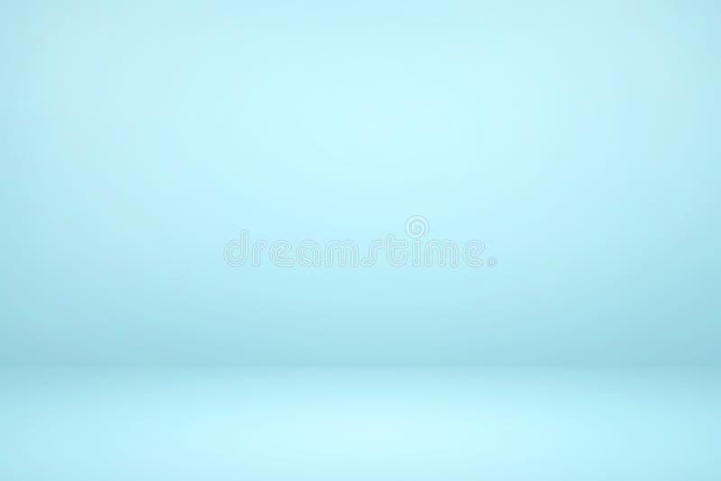 Studio bleu clair vide avec fond abstrait de lumière et d'ombre illustration libre de droits