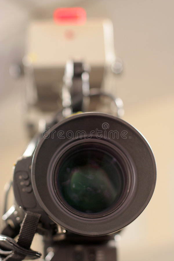 Studio Camera Lens and Tally light royalty free stock photo
