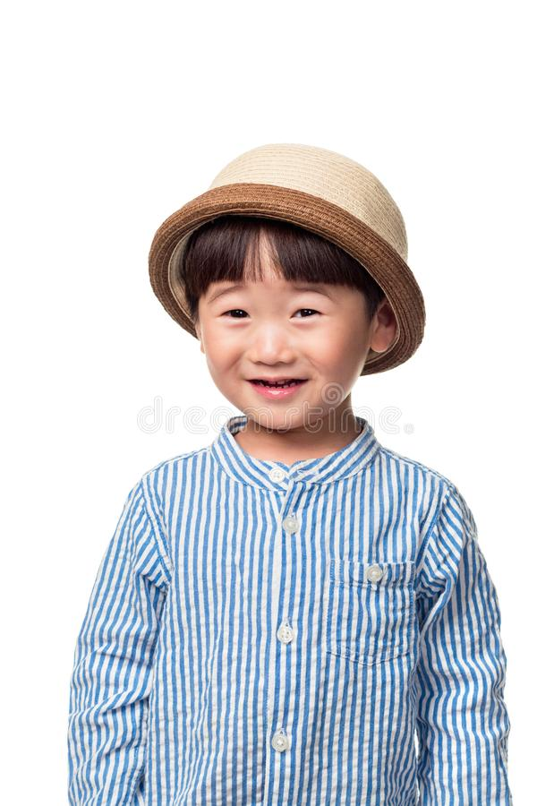 Studio close-up portrait of East Asian male child happy and happy stock photography