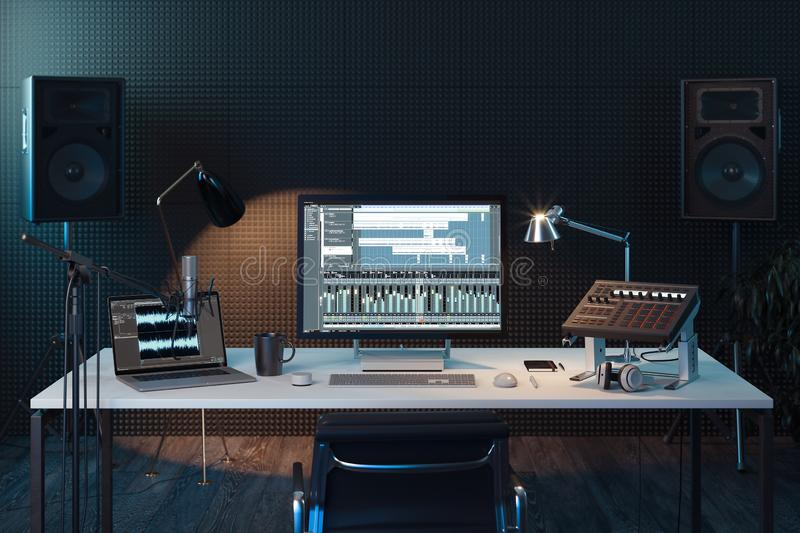 Studio Computer Music Station. Professional audio mixing console. 3d rendering. stock photography