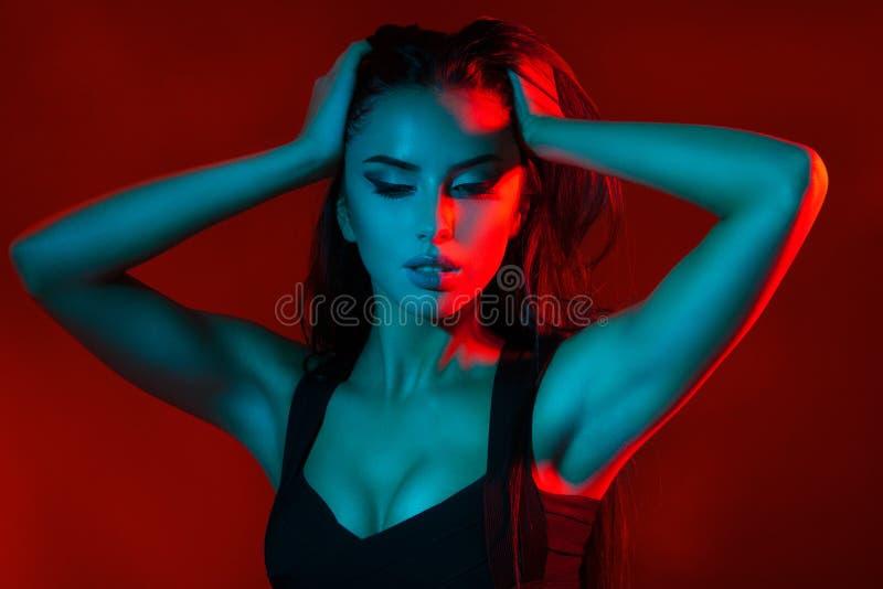 Studio creative portrait of beautiful girl model. royalty free stock image