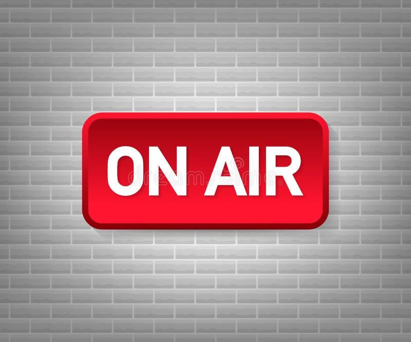 Studio d'émission sur la lumière d'air radio et télévision de signe de Sur-air Illustration de vecteur illustration stock