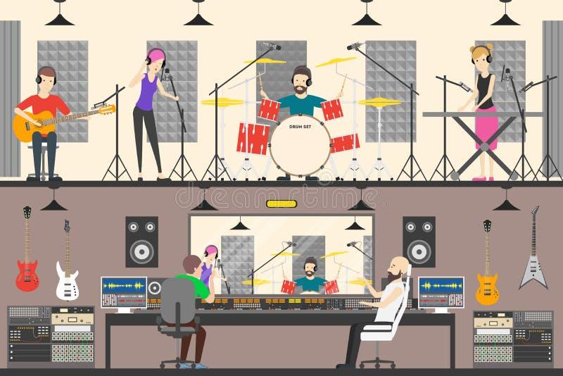 Studio d'enregistrement sonore illustration libre de droits