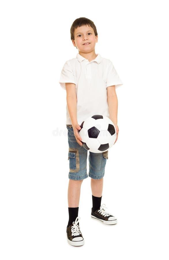 Studio de garçon du football d'isolement photo stock